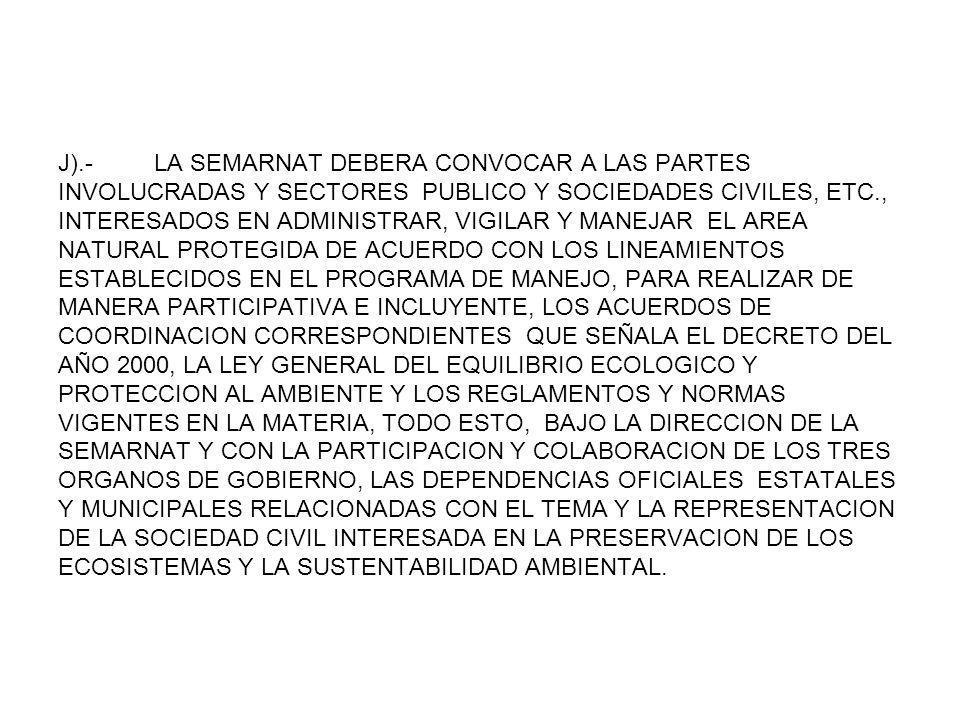 J).- LA SEMARNAT DEBERA CONVOCAR A LAS PARTES INVOLUCRADAS Y SECTORES PUBLICO Y SOCIEDADES CIVILES, ETC., INTERESADOS EN ADMINISTRAR, VIGILAR Y MANEJA