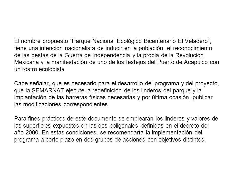 El nombre propuesto Parque Nacional Ecológico Bicentenario El Veladero, tiene una intención nacionalista de inducir en la población, el reconocimiento