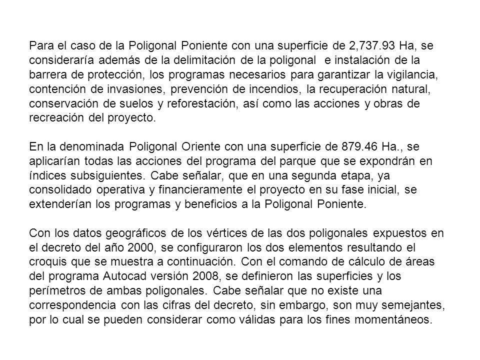 Para el caso de la Poligonal Poniente con una superficie de 2,737.93 Ha, se consideraría además de la delimitación de la poligonal e instalación de la