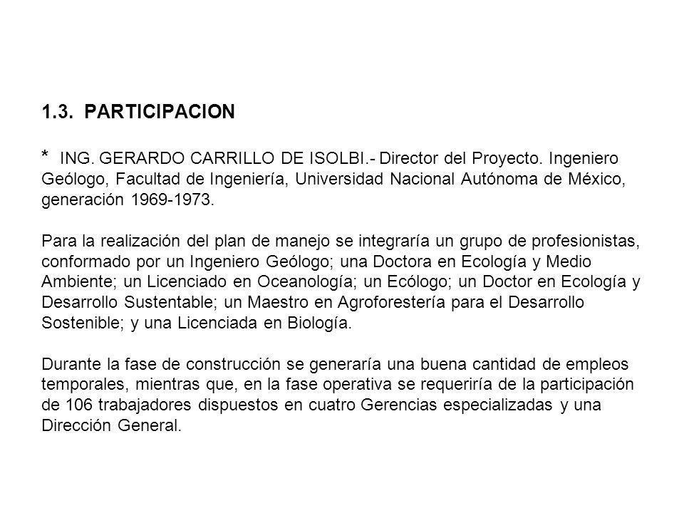 1.3. PARTICIPACION * ING. GERARDO CARRILLO DE ISOLBI.- Director del Proyecto. Ingeniero Geólogo, Facultad de Ingeniería, Universidad Nacional Autónoma