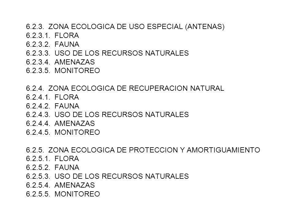 6.2.3. ZONA ECOLOGICA DE USO ESPECIAL (ANTENAS) 6.2.3.1. FLORA 6.2.3.2. FAUNA 6.2.3.3. USO DE LOS RECURSOS NATURALES 6.2.3.4. AMENAZAS 6.2.3.5. MONITO