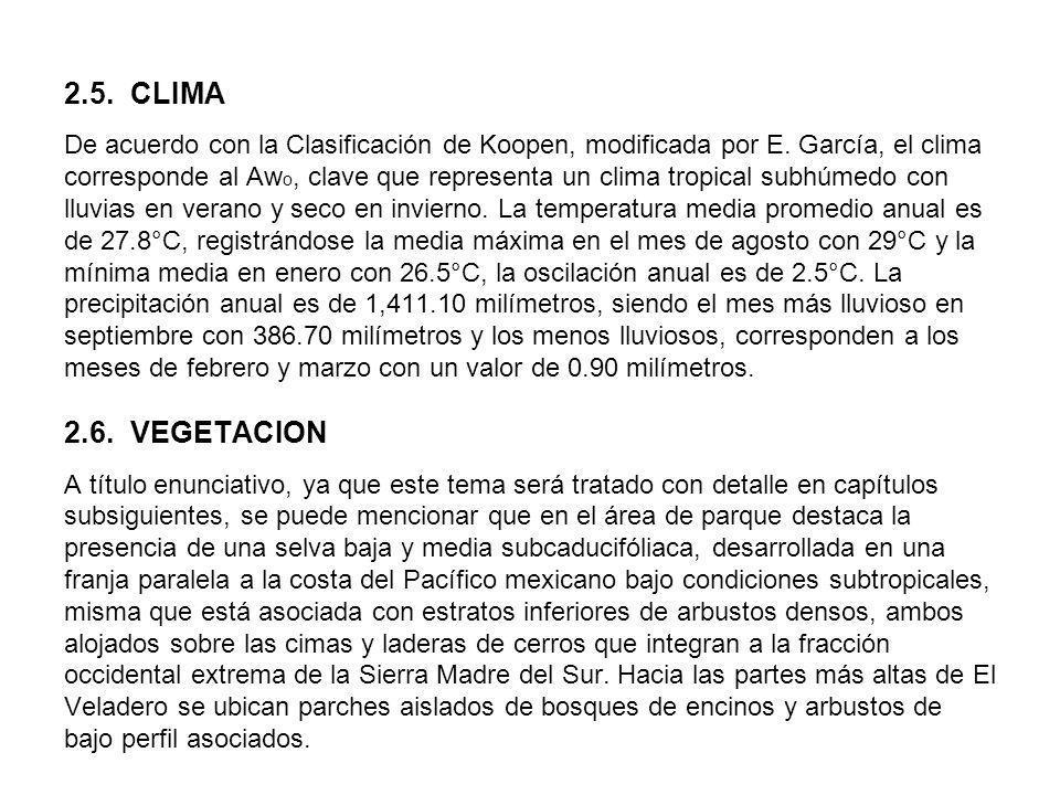 2.5. CLIMA De acuerdo con la Clasificación de Koopen, modificada por E. García, el clima corresponde al Aw o, clave que representa un clima tropical s