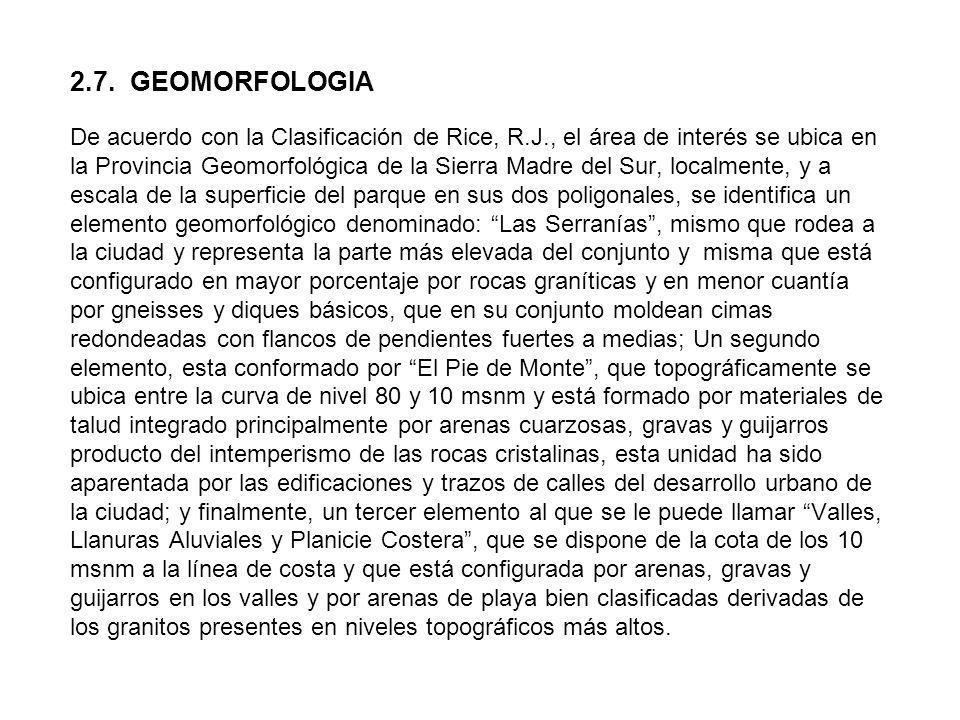 2.7. GEOMORFOLOGIA De acuerdo con la Clasificación de Rice, R.J., el área de interés se ubica en la Provincia Geomorfológica de la Sierra Madre del Su
