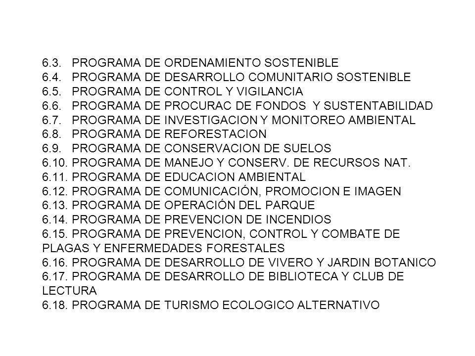 6.3. PROGRAMA DE ORDENAMIENTO SOSTENIBLE 6.4. PROGRAMA DE DESARROLLO COMUNITARIO SOSTENIBLE 6.5. PROGRAMA DE CONTROL Y VIGILANCIA 6.6. PROGRAMA DE PRO