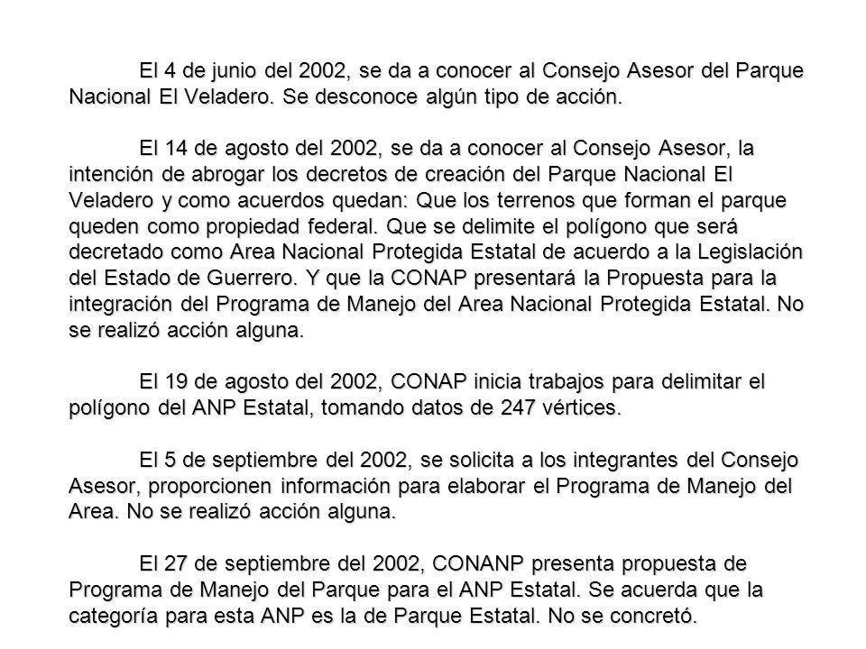 El 4 de junio del 2002, se da a conocer al Consejo Asesor del Parque Nacional El Veladero. Se desconoce algún tipo de acción. El 14 de agosto del 2002