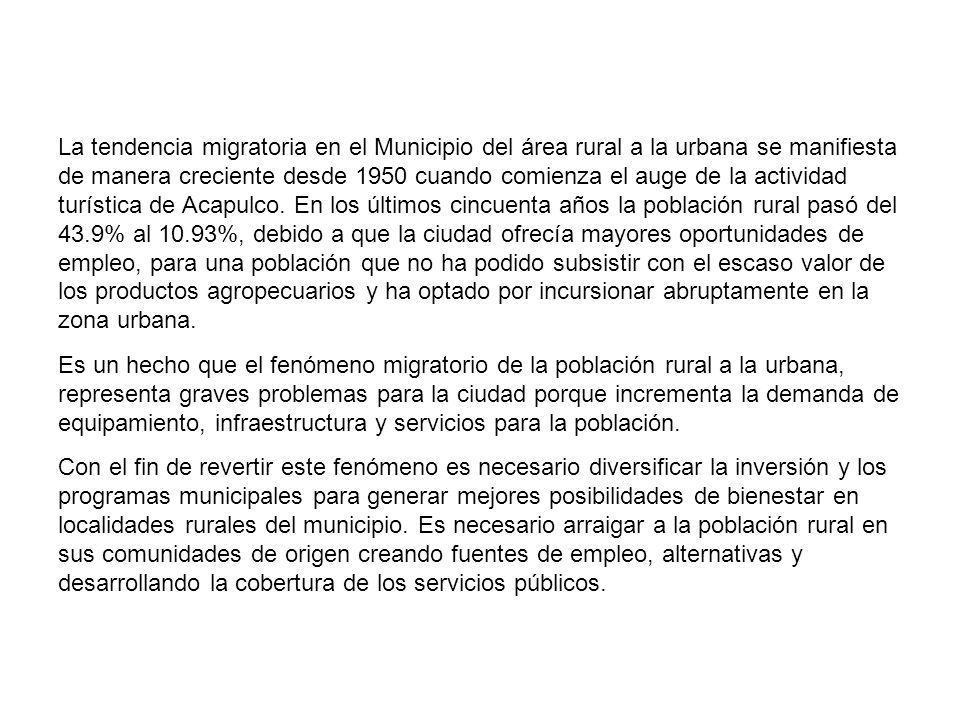 La tendencia migratoria en el Municipio del área rural a la urbana se manifiesta de manera creciente desde 1950 cuando comienza el auge de la activida