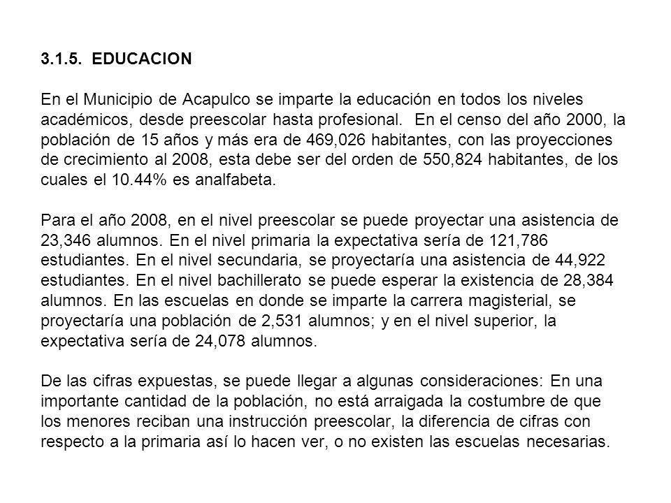 3.1.5. EDUCACION En el Municipio de Acapulco se imparte la educación en todos los niveles académicos, desde preescolar hasta profesional. En el censo