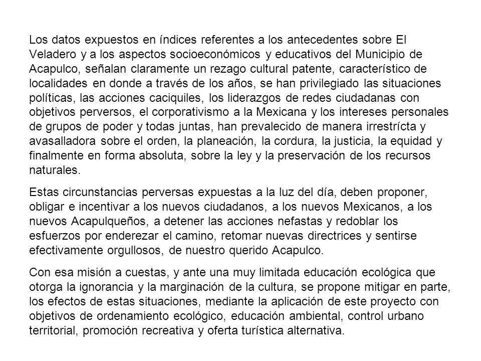 Los datos expuestos en índices referentes a los antecedentes sobre El Veladero y a los aspectos socioeconómicos y educativos del Municipio de Acapulco