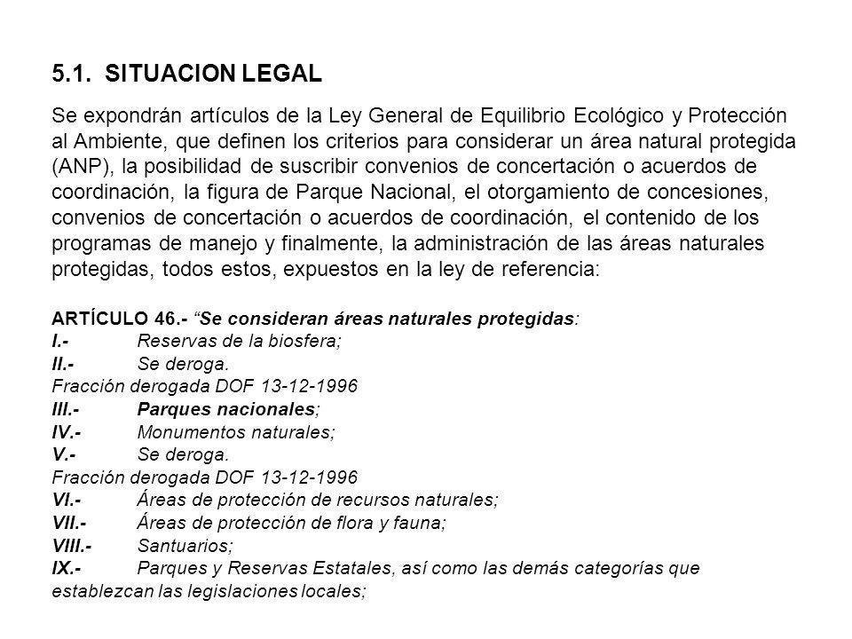 5.1. SITUACION LEGAL Se expondrán artículos de la Ley General de Equilibrio Ecológico y Protección al Ambiente, que definen los criterios para conside