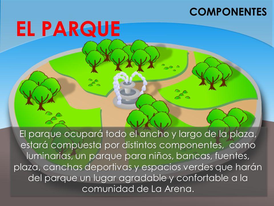 COMPONENTES EL PARQUE El parque ocupará todo el ancho y largo de la plaza, estará compuesta por distintos componentes, como luminarias, un parque para