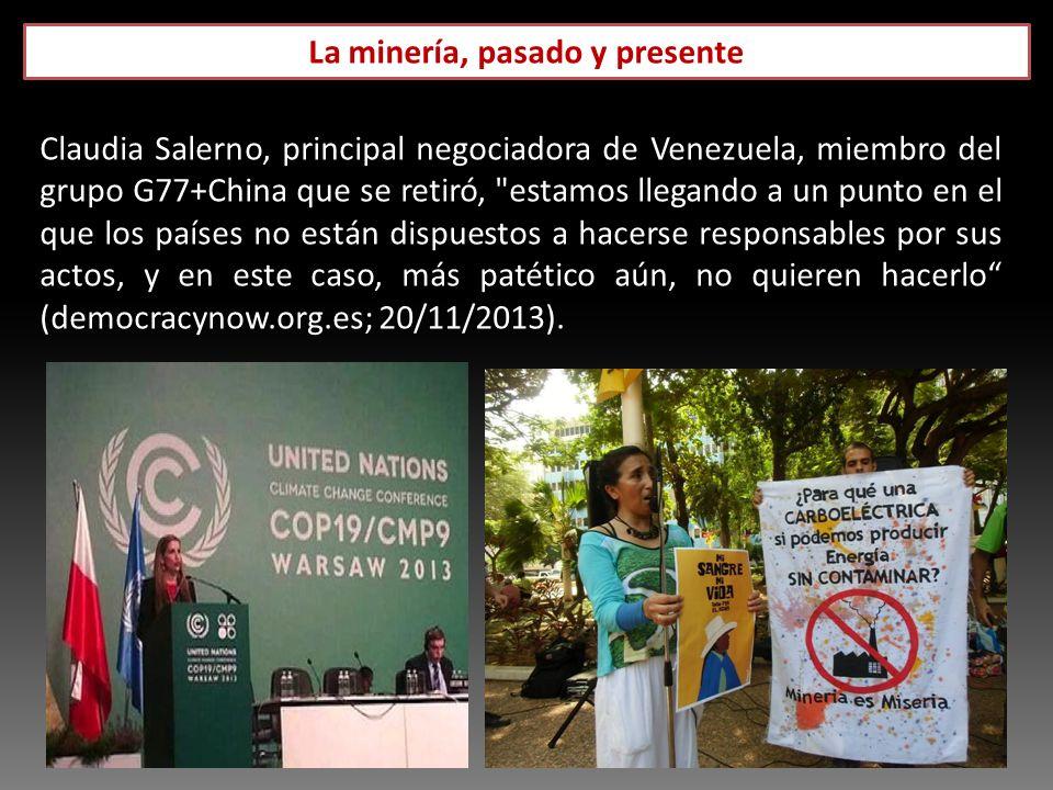 La minería, pasado y presente Diario Panorama: 18 de septiembre de 2013 Claudia Salerno, principal negociadora de Venezuela, miembro del grupo G77+Chi