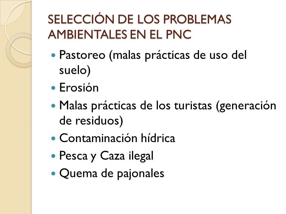 SELECCIÓN DE LOS PROBLEMAS AMBIENTALES EN EL PNC Pastoreo (malas prácticas de uso del suelo) Erosión Malas prácticas de los turistas (generación de re