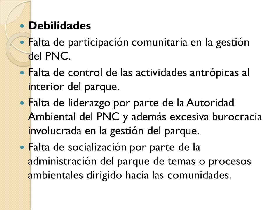 Debilidades Falta de participación comunitaria en la gestión del PNC. Falta de control de las actividades antrópicas al interior del parque. Falta de