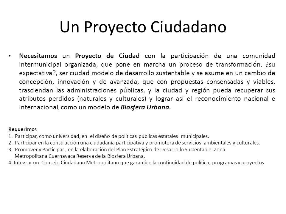 Un Proyecto Ciudadano Necesitamos un Proyecto de Ciudad con la participación de una comunidad intermunicipal organizada, que pone en marcha un proceso de transformación.