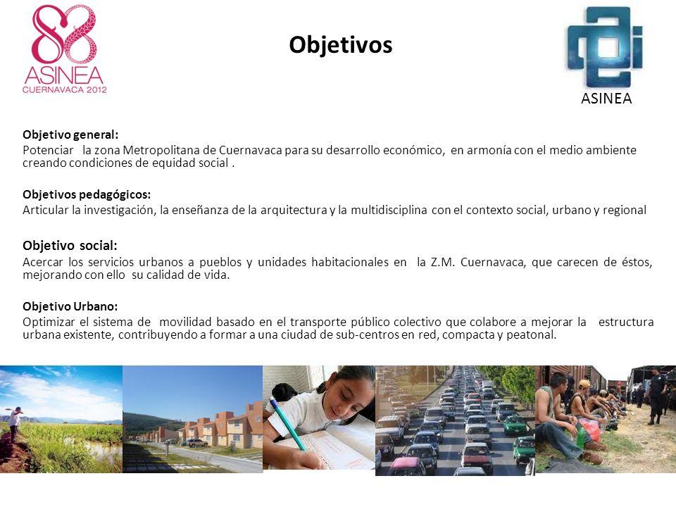 Objetivo general: Potenciar la zona Metropolitana de Cuernavaca para su desarrollo económico, en armonía con el medio ambiente creando condiciones de equidad social.