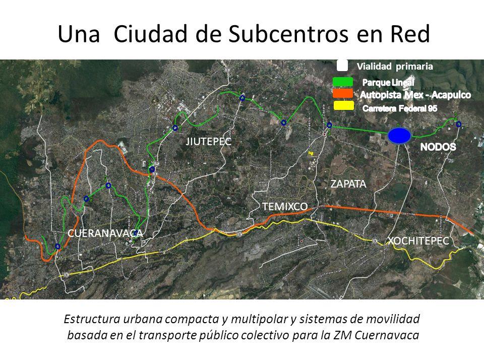 Vialidad primaria CUERANAVACA JIUTEPEC ZAPATA TEMIXCO XOCHITEPEC Una Ciudad de Subcentros en Red Estructura urbana compacta y multipolar y sistemas de movilidad basada en el transporte público colectivo para la ZM Cuernavaca