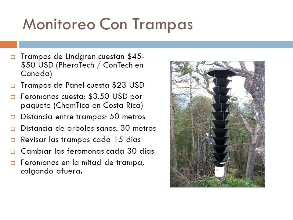 Monitoreo Con Trampas Trampas de Lindgren cuestan $45- $50 USD (PheroTech / ConTech en Canada) Trampas de Panel cuesta $23 USD Feromonas cuesta: $3.50