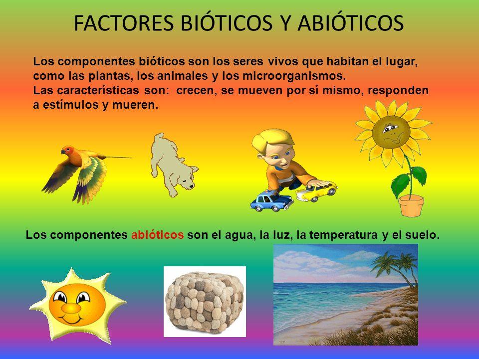 FACTORES BIÓTICOS Y ABIÓTICOS Los componentes bióticos son los seres vivos que habitan el lugar, como las plantas, los animales y los microorganismos.
