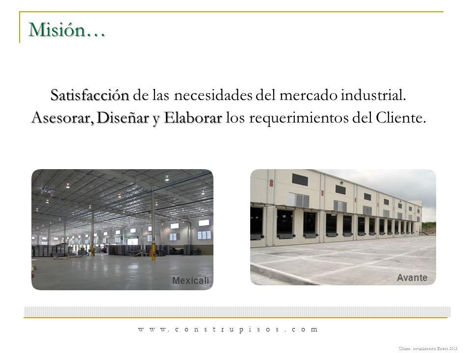 Misión… Satisfacción Satisfacción de las necesidades del mercado industrial. Asesorar, Diseñar y Elaborar Asesorar, Diseñar y Elaborar los requerimien