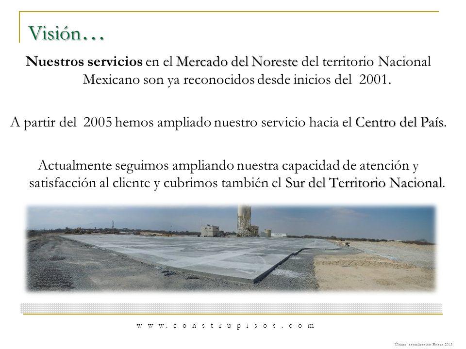 Visión … Mercado del Noreste Nuestros servicios en el Mercado del Noreste del territorio Nacional Mexicano son ya reconocidos desde inicios del 2001.