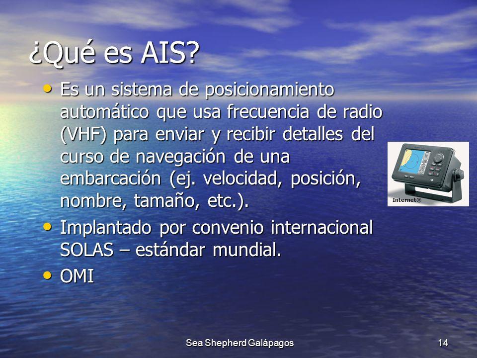 ¿Qué es AIS? Es un sistema de posicionamiento automático que usa frecuencia de radio (VHF) para enviar y recibir detalles del curso de navegación de u