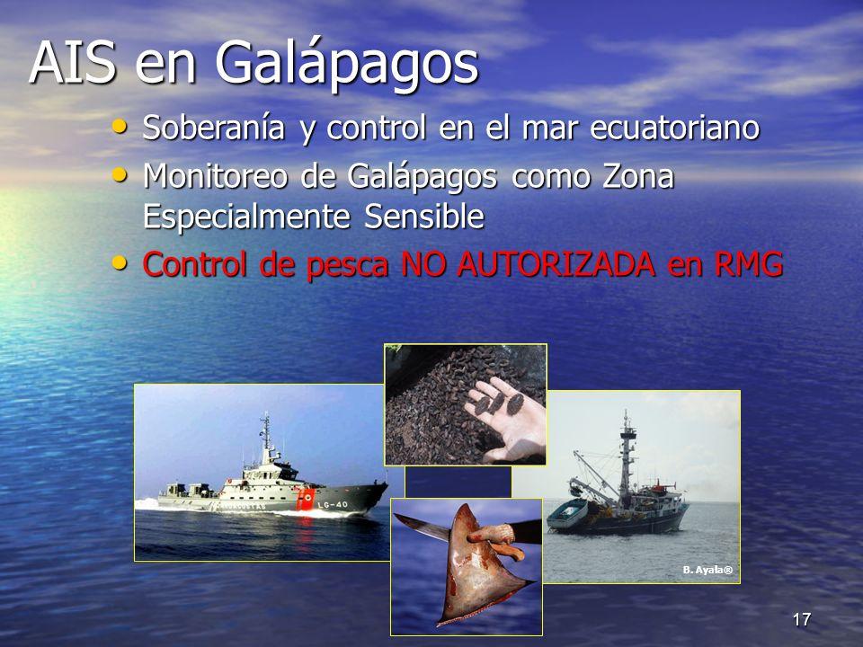 AIS en Galápagos AIS en Galápagos Soberanía y control en el mar ecuatoriano Soberanía y control en el mar ecuatoriano Monitoreo de Galápagos como Zona