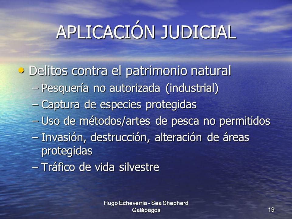 APLICACIÓN JUDICIAL Delitos contra el patrimonio natural Delitos contra el patrimonio natural –Pesquería no autorizada (industrial) –Captura de especi