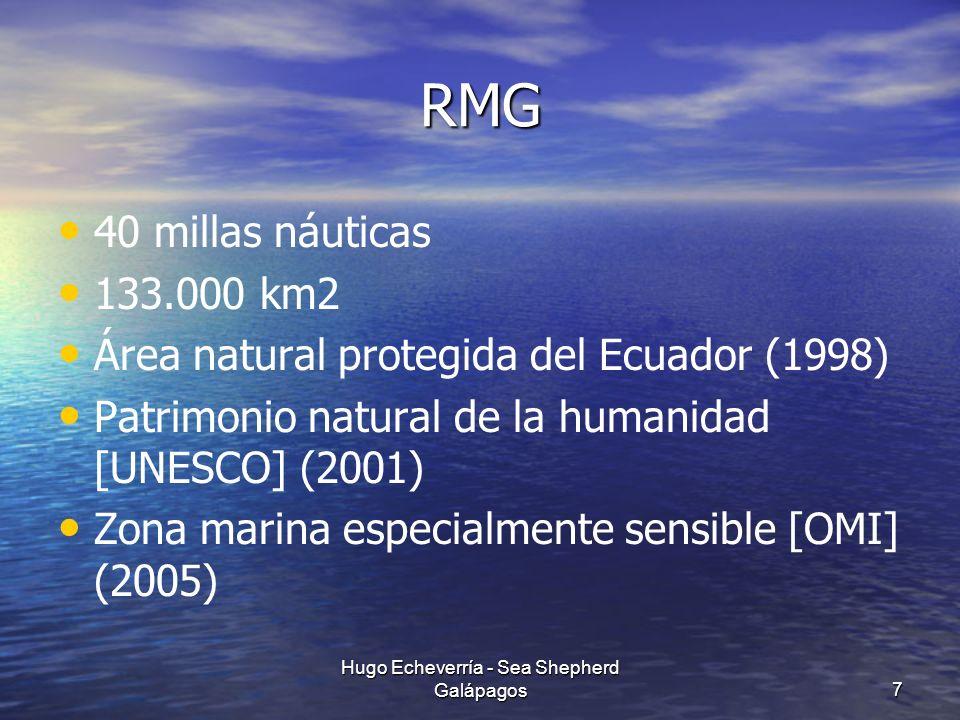 RMG 40 millas náuticas 133.000 km2 Área natural protegida del Ecuador (1998) Patrimonio natural de la humanidad [UNESCO] (2001) Zona marina especialme