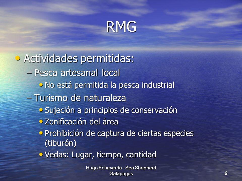 RMG Actividades permitidas: Actividades permitidas: –Pesca artesanal local No está permitida la pesca industrial No está permitida la pesca industrial
