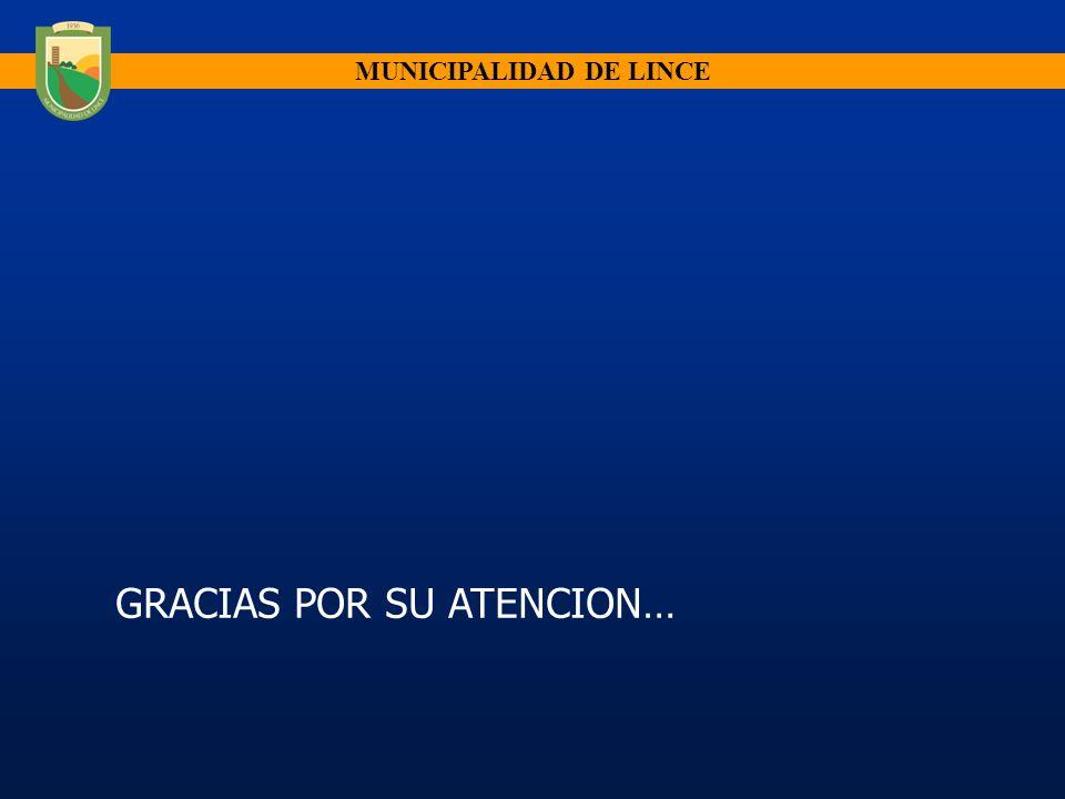 MUNICIPALIDAD DE LINCE GRACIAS POR SU ATENCION…