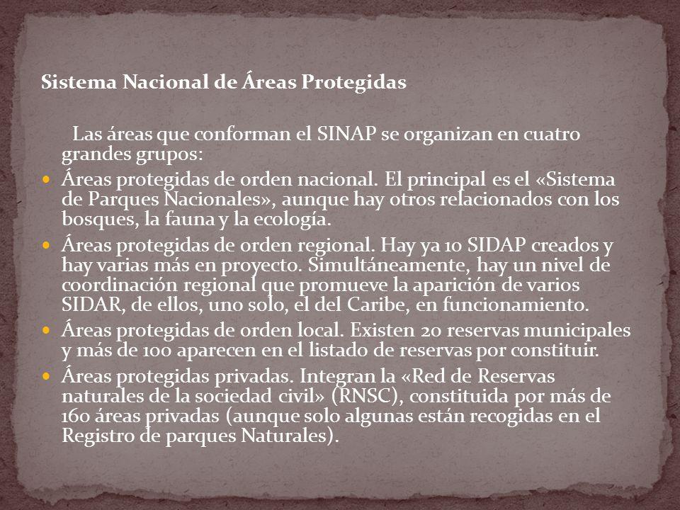 Sistema Nacional de Áreas Protegidas Las áreas que conforman el SINAP se organizan en cuatro grandes grupos: Áreas protegidas de orden nacional.