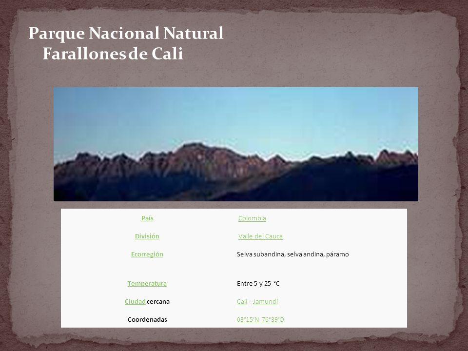 Parque Nacional Natural Farallones de Cali País Colombia División Valle del Cauca EcorregiónSelva subandina, selva andina, páramo TemperaturaEntre 5 y 25 °C CiudadCiudad cercanaCaliCali - JamundíJamundí Coordenadas03°15N 76°39O