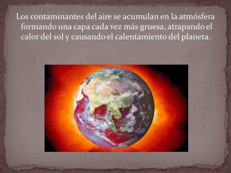 Los principales agentes contaminantes son: bióxido de carbono (generados por las plantas de generación de energía a base de carbón) dióxido de carbono CO2 (emitidos por los automóviles).