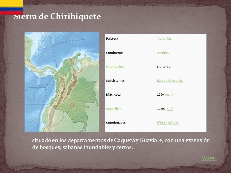 Sierra de Chiribiquete País(es) Colombia ContinenteAmérica OrientaciónNorte-sur SubsistemasEscudo Guayanés Máx.