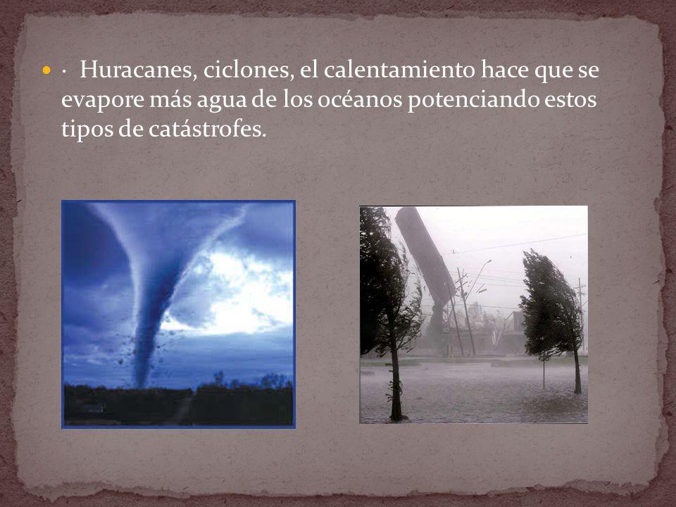 · Huracanes, ciclones, el calentamiento hace que se evapore más agua de los océanos potenciando estos tipos de catástrofes.