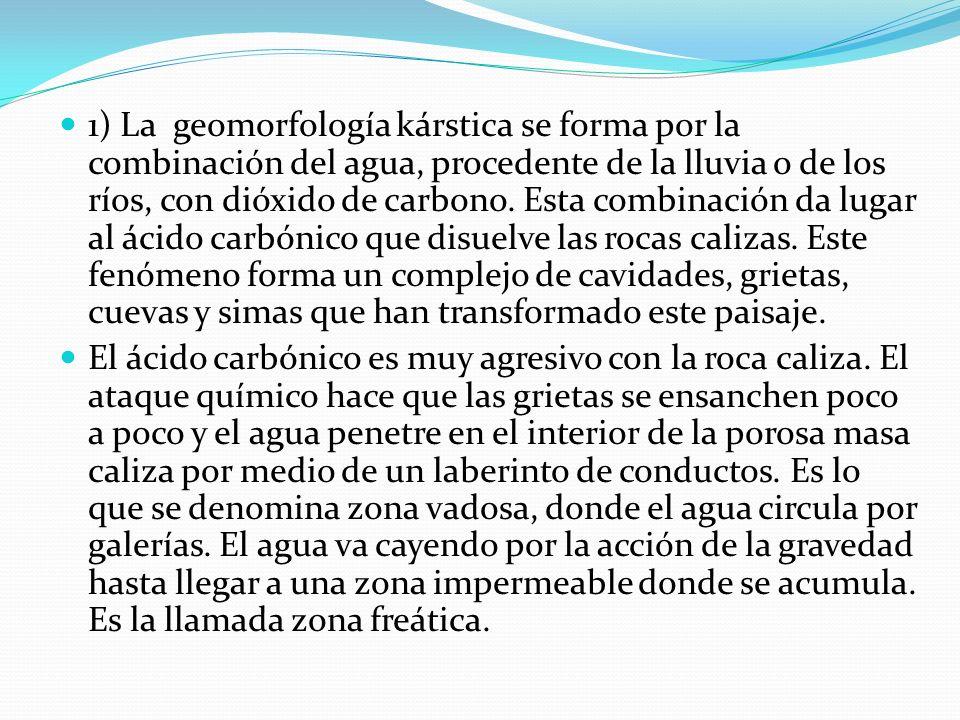 1) La geomorfología kárstica se forma por la combinación del agua, procedente de la lluvia o de los ríos, con dióxido de carbono.