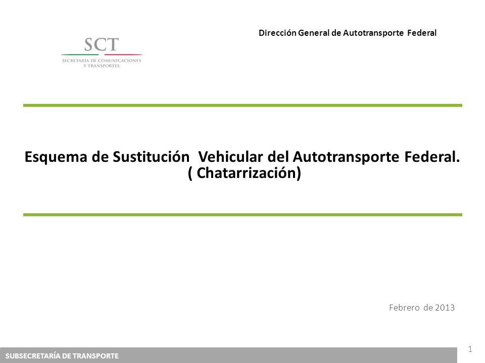 SUBSECRETARÍA DE TRANSPORTE 1 Esquema de Sustitución Vehicular del Autotransporte Federal. ( Chatarrización) Febrero de 2013 Dirección General de Auto