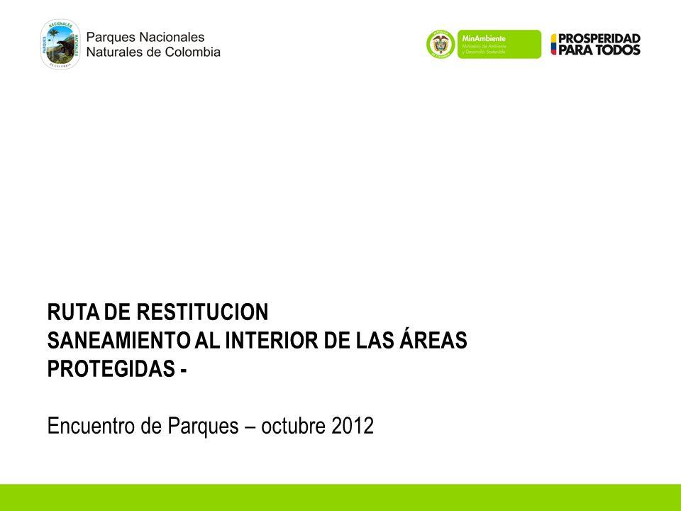 RUTA DE RESTITUCION SANEAMIENTO AL INTERIOR DE LAS ÁREAS PROTEGIDAS - Encuentro de Parques – octubre 2012