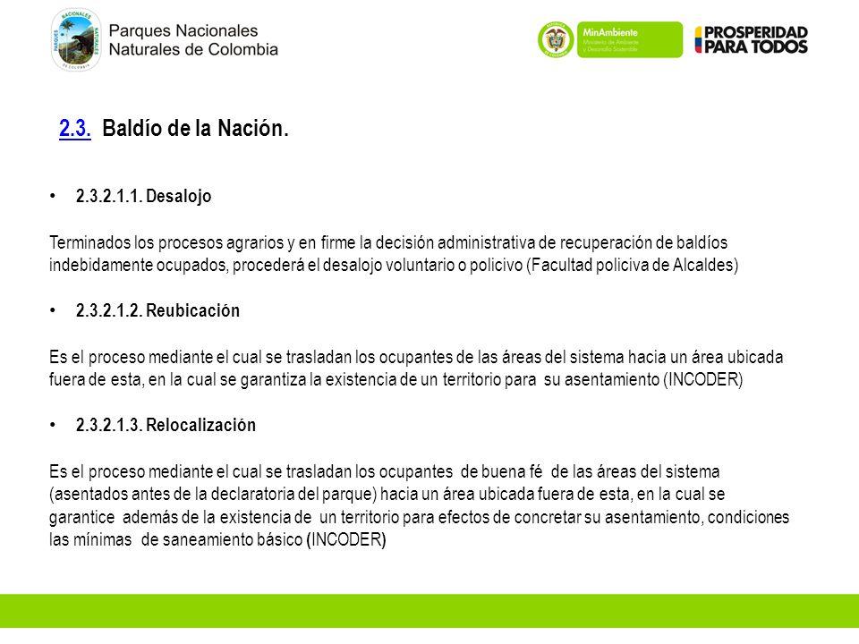 2.3.2.3. Baldío de la Nación. 2.3.2.1.1. Desalojo Terminados los procesos agrarios y en firme la decisión administrativa de recuperación de baldíos in
