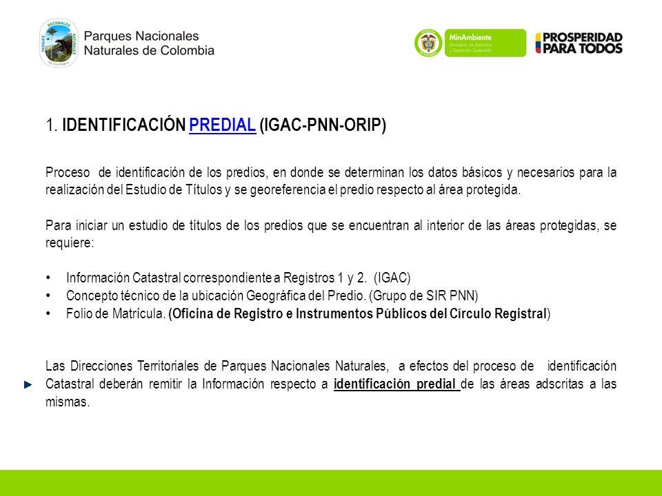 1. IDENTIFICACIÓN PREDIAL (IGAC-PNN-ORIP)PREDIAL Proceso de identificación de los predios, en donde se determinan los datos básicos y necesarios para