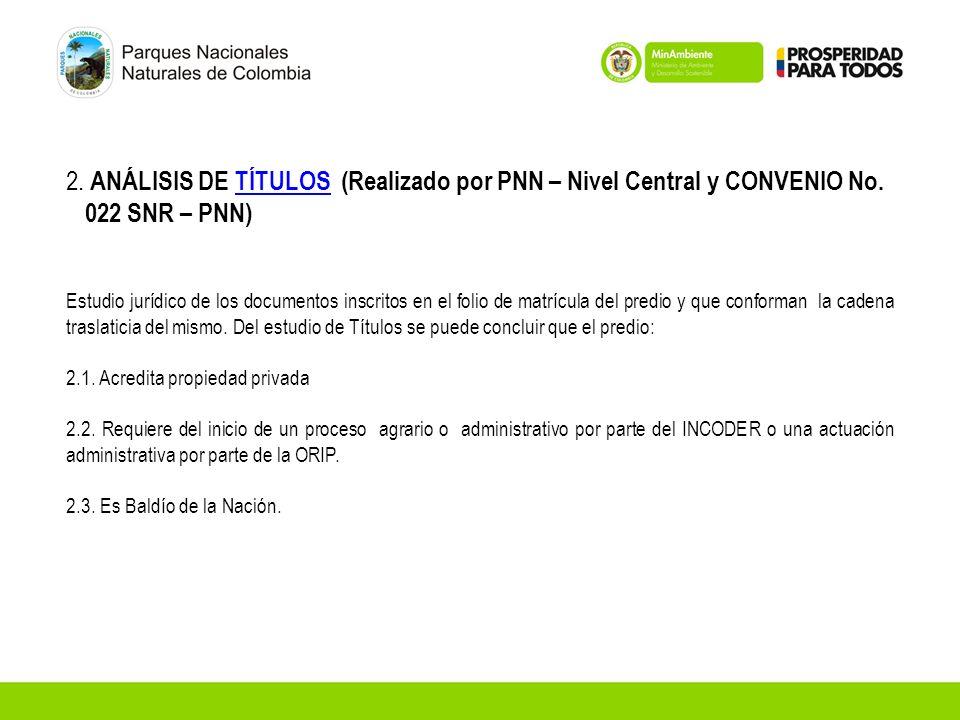 2. ANÁLISIS DE TÍTULOS (Realizado por PNN – Nivel Central y CONVENIO No. 022 SNR – PNN)TÍTULOS Estudio jurídico de los documentos inscritos en el foli