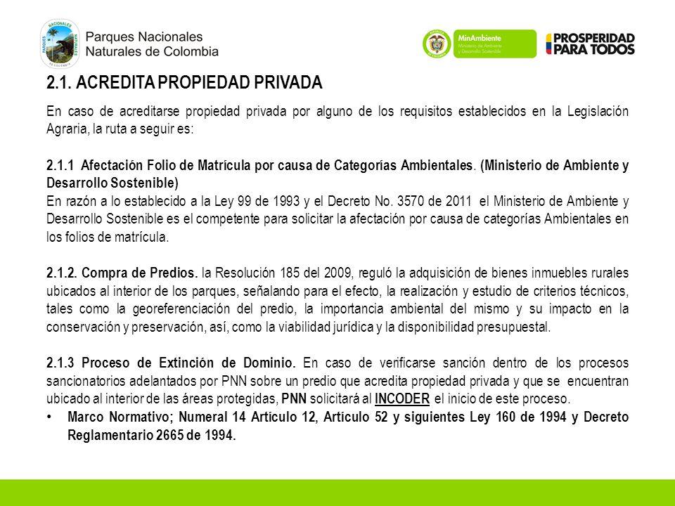 2.1. ACREDITA PROPIEDAD PRIVADA En caso de acreditarse propiedad privada por alguno de los requisitos establecidos en la Legislación Agraria, la ruta