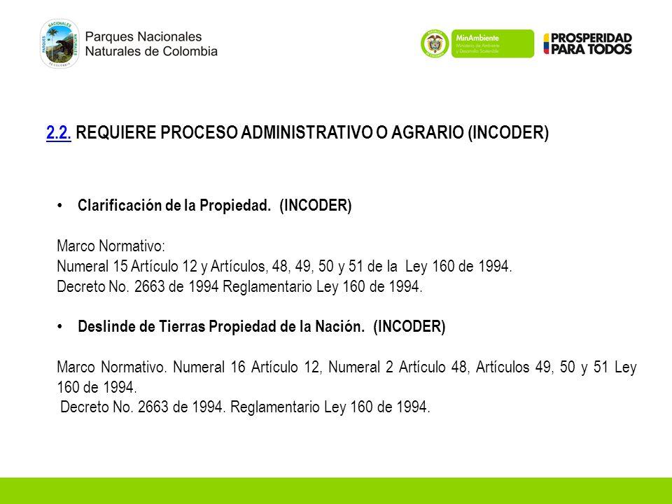 2.2.2.2. REQUIERE PROCESO ADMINISTRATIVO O AGRARIO (INCODER) Clarificación de la Propiedad. (INCODER) Marco Normativo: Numeral 15 Artículo 12 y Artícu