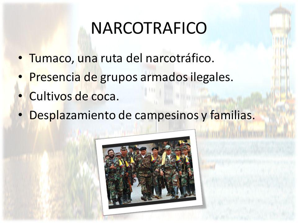 NARCOTRAFICO Tumaco, una ruta del narcotráfico. Presencia de grupos armados ilegales. Cultivos de coca. Desplazamiento de campesinos y familias.
