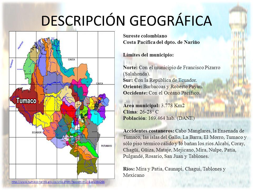 DESCRIPCIÓN GEOGRÁFICA Sureste colombiano Costa Pacífica del dpto. de Nariño Límites del municipio: Norte: Con el municipio de Francisco Pizarro (Sala