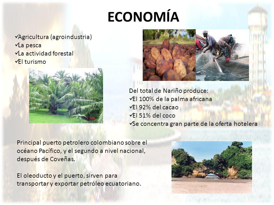 ECONOMÍA Agricultura (agroindustria) La pesca La actividad forestal El turismo Principal puerto petrolero colombiano sobre el océano Pacífico, y el se