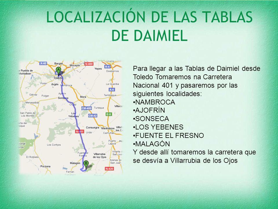 LOCALIZACIÓN DE LAS TABLAS DE DAIMIEL Para llegar a las Tablas de Daimiel desde Toledo Tomaremos na Carretera Nacional 401 y pasaremos por las siguientes localidades: NAMBROCA AJOFRÍN SONSECA LOS YEBENES FUENTE EL FRESNO MALAGÓN Y desde allí tomaremos la carretera que se desvía a Villarrubia de los Ojos