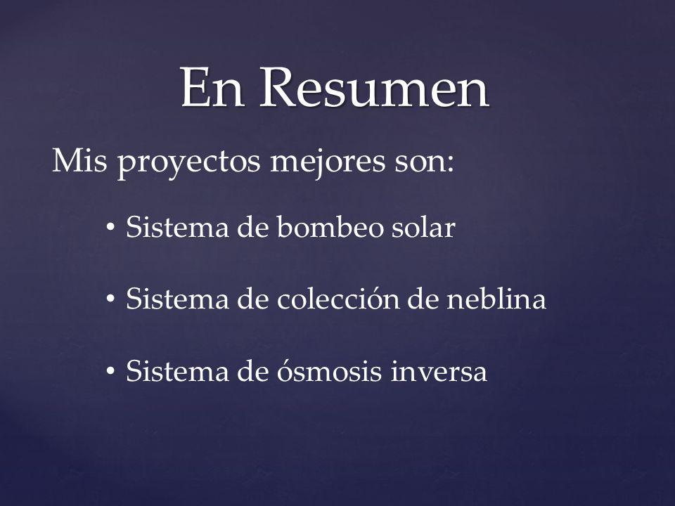 En Resumen Sistema de bombeo solar Sistema de colección de neblina Sistema de ósmosis inversa Mis proyectos mejores son: