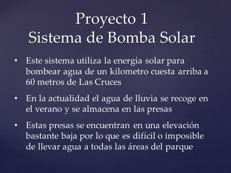 Proyecto 1 Sistema de Bomba Solar Este sistema utiliza la energía solar para bombear agua de un kilometro cuesta arriba a 60 metros de Las Cruces En l