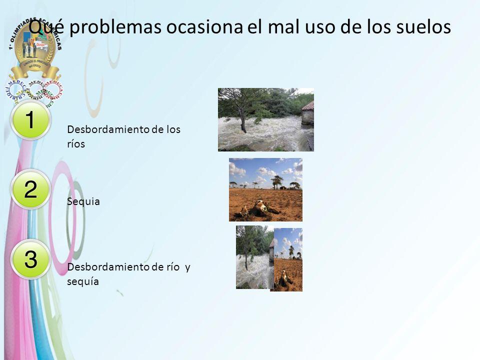 Qué problemas ocasiona el mal uso de los suelos Desbordamiento de los ríos Sequia Desbordamiento de río y sequía